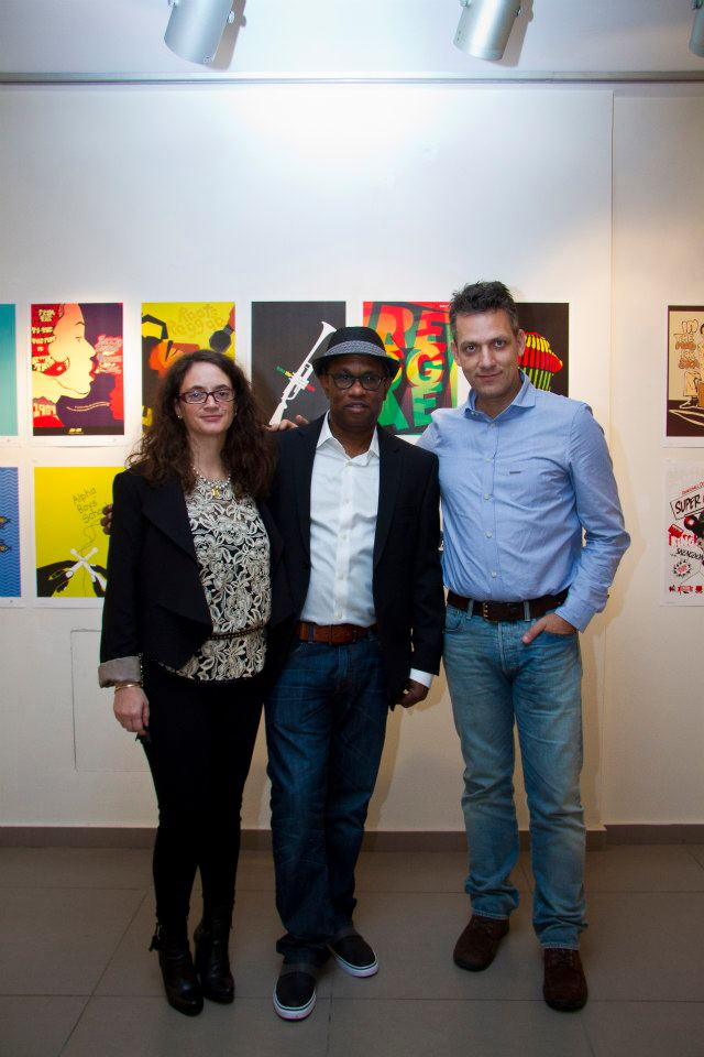 The founders with the amazing visual designer and judge of the contest Charis Tsevis
