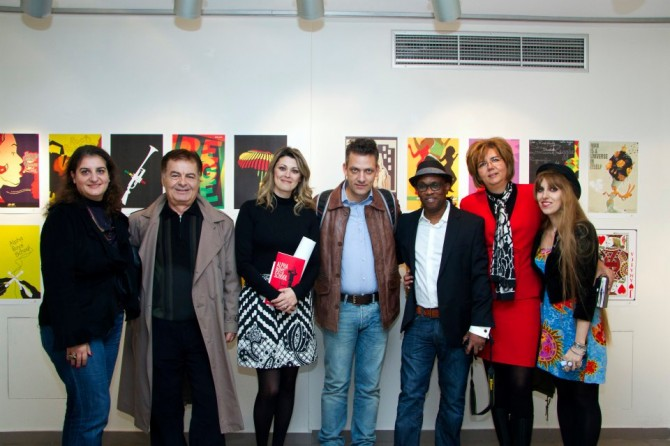 Founder Michael Thompson amongst Visual Designer Charis Tsevis and Social Affairs Manager, Eva Mavridou and other staff and friends of AKTO and the IRPC.