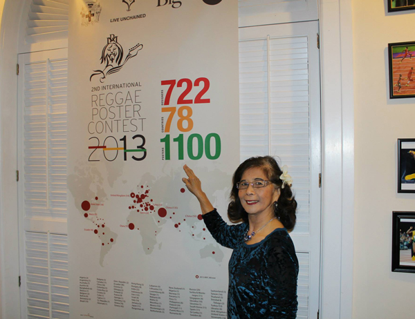 Patricia Chin founder of VP Records in front of the IRPC global footprint.