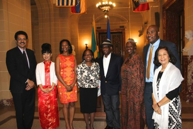 Ambassador Stephen Vasciannie Permanent Representative of Jamaica to the OAS, Anna I, Ms. Dione Peart, Mrs. Julia Hyatt Minister/Alternate Representative of Jamaica to the OAS, Michael Thompson, Professor Carolyn Cooper, UWI, Mona, Mr. Joseph McLaren and Patricia Chin.