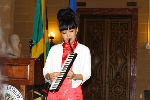 Reggae artist Anna I, performing at the OAS, Marcus Garvey building.