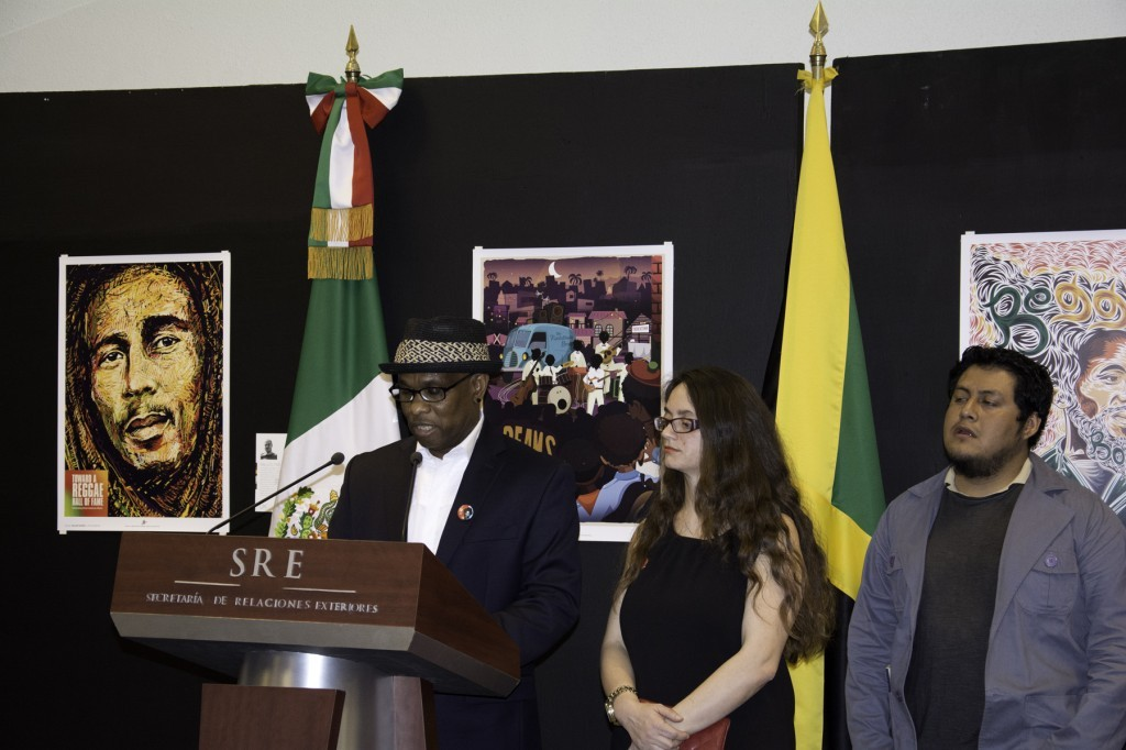 Intl. Reggae Poster Contest Founders, Michael Thompson and Maria Papaefstathiou. Next to them, Lenin Baru Vásquez Felipe of Mexico, 3rd winner of 2013 competition.
