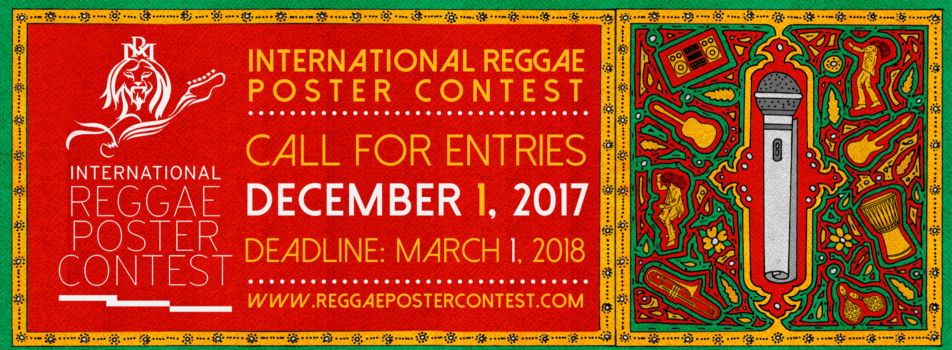 Call for Entries. 6th Intentational Reggae Poster Contest 2017